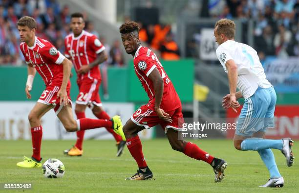 Kingsley Coman of Bayern Muenchen in action during the DFB Cup first round match between Chemnitzer FC and FC Bayern Muenchen at community4you Arena...