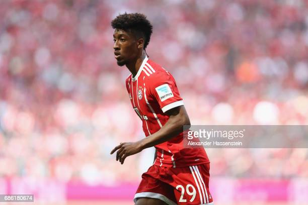 Kingsley Coman of Bayern Muenchen looks on during the Bundesliga match between Bayern Muenchen and SC Freiburg at Allianz Arena on May 20 2017 in...