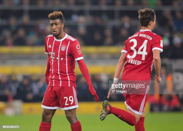 Kingsley Coman of Bayern Muenchen looks on during the Bundesliga match between Borussia Moenchengladbach and FC Bayern Muenchen at BorussiaPark on...