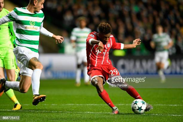 Kingsley Coman of Bayern Muenchen scores his side's first goal during the UEFA Champions League group B match between Celtic FC and Bayern Muenchen...