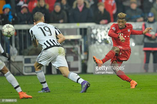 Kingsley Coman of Bayern Muenchen scores his team's fourth goal during the UEFA Champions League Round of 16 second leg match between FC Bayern...