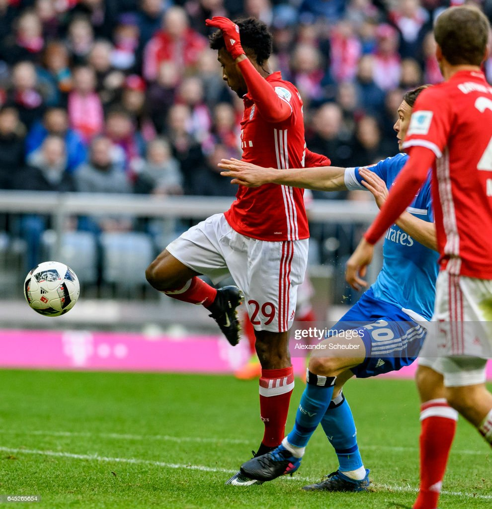 Kingsley Coman of Bayern Muenchen scores the seventh goal for his team during the Bundesliga match between Bayern Muenchen and Hamburger SV at Allianz Arena on February 25, 2017 in Munich, Germany.