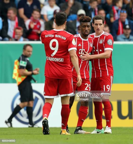 Kingsley Coman of Bayern Muenchen Sebastian Rudy of Bayern Muenchen and Robert Lewandowski of Bayern Muenchen celebrate a goal during the DFB Cup...