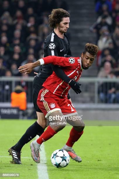 Kingsley Coman of Bayern Munich Adrien Rabiot of PSG during the UEFA Champions League group B match between Bayern Muenchen and Paris SaintGermain at...