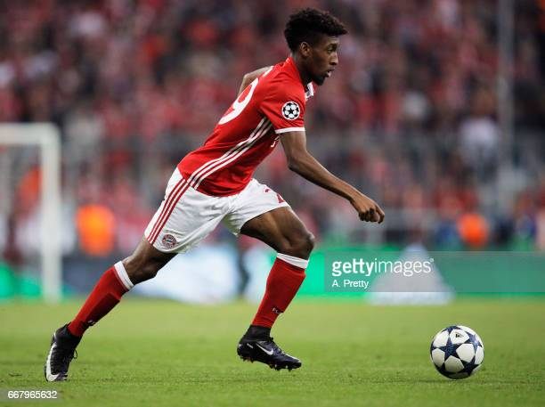 Kingsley Coman of Bayern Munich in action during the UEFA Champions League Quarter Final first leg match between FC Bayern Muenchen and Real Madrid...