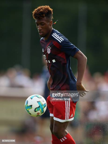 Kingsley Coman of Bayern warms up prior to the preseason friendly match between BCF Wolfratshausen and Bayern Muenchen at on July 6 2017 in...
