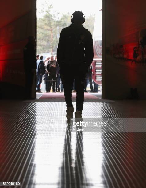 Kingsley Coman of FC Bayern Muenchen arrives at the players' tunnel for the Bundesliga match between Bayern Muenchen and Eintracht Frankfurt at...