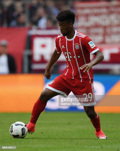 Kingsley Coman of FC Bayern Muenchen controls the ball during the Bundesliga match between Bayern Muenchen and SC Freiburg at Allianz Arena on May 20...