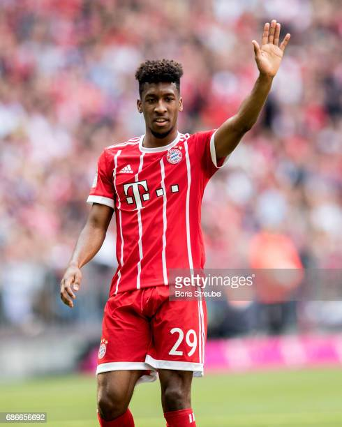 Kingsley Coman of FC Bayern Muenchen gestures during the Bundesliga match between Bayern Muenchen and SC Freiburg at Allianz Arena on May 20 2017 in...
