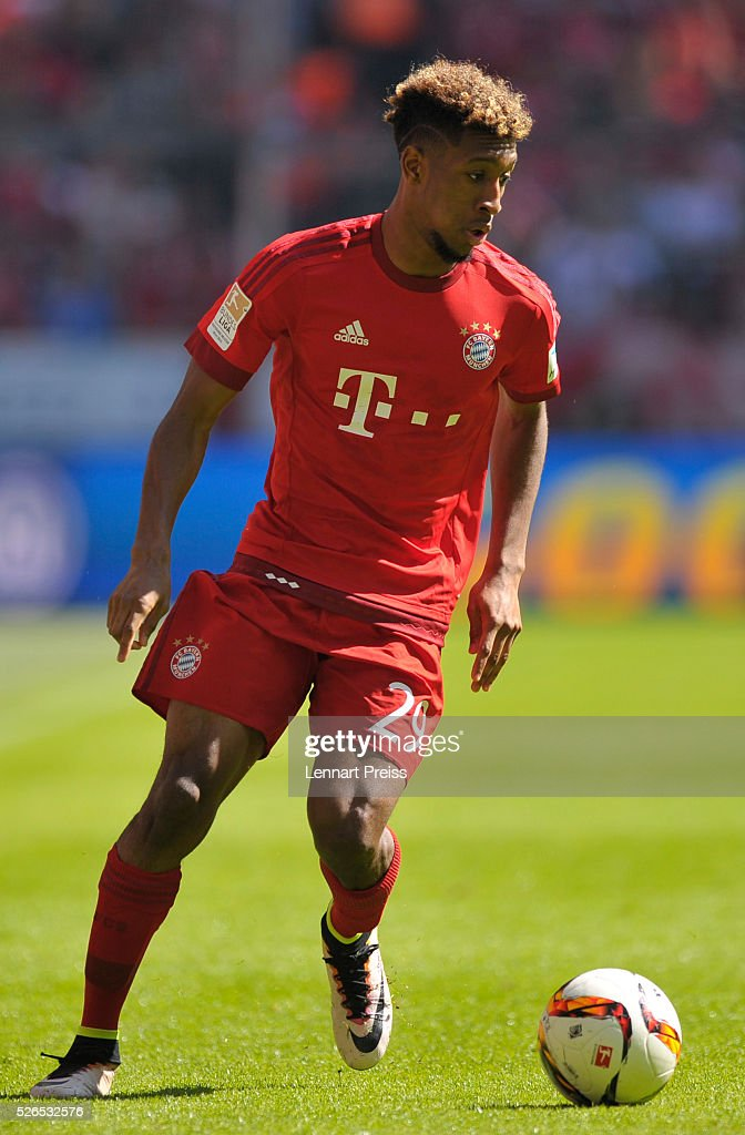 Kingsley Coman of FC Bayern Muenchen in action during the Bundesliga match between FC Bayern Muenchen and Borussia Moenchengladbach at Allianz Arena on April 30, 2016 in Munich, Germany.