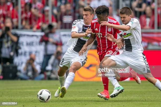 Kingsley Coman of FC Bayern Muenchen in action during the Bundesliga match between Bayern Muenchen and SC Freiburg at Allianz Arena on May 20 2017 in...