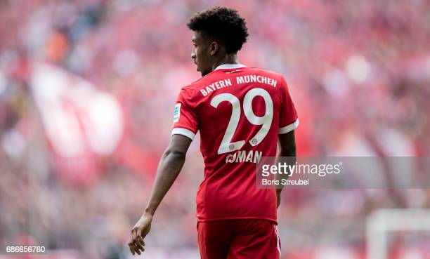 Kingsley Coman of FC Bayern Muenchen looks on during the Bundesliga match between Bayern Muenchen and SC Freiburg at Allianz Arena on May 20 2017 in...