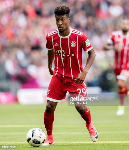 Kingsley Coman of FC Bayern Muenchen runs with the ball during the Bundesliga match between Bayern Muenchen and SC Freiburg at Allianz Arena on May...