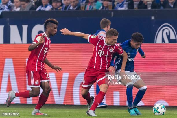 Kingsley Coman of FC Bayern Munich Joshua Kimmich of FC Bayern Munich Amine Harit of FC Schalke 04 during the Bundesliga match between Schalke 04 and...