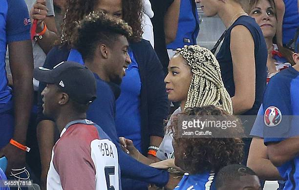 Kingsley Coman of France and his wife Sephora Coman celebrate the victory following the UEFA Euro 2016 semifinal match between Germany and France at...