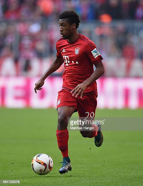 Kingsley Coman of Muenchen controls the ball during the Bundesliga match between FC Bayern Muenchen and 1 FC Koeln at Allianz Arena on October 24...