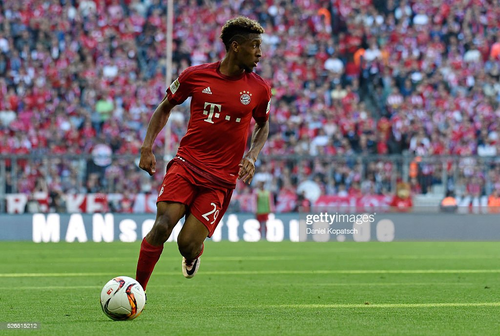 Kingsley Coman of Muenchen controls the ball during the Bundesliga match between FC Bayern Muenchen and Borussia Moenchengladbach at Allianz Arena on April 30, 2016 in Munich, Germany.