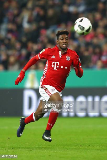 Kingsley Coman of Muenchen runs with the ball during the DFB Cup quarter final between Bayern Muenchen and FC Schalke 04 at Allianz Arena on March 1...