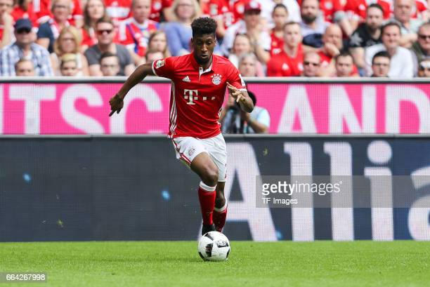 Kingsley Coman of Munich controls the ball during the Bundesliga match between Bayern Muenchen and FC Augsburg at Allianz Arena on April 1 2017 in...