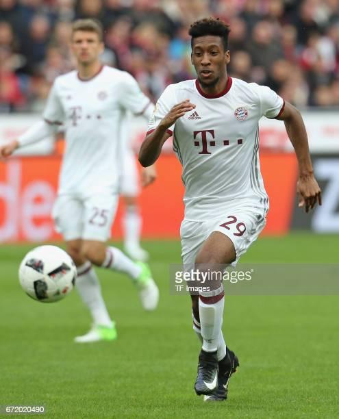 Kingsley Coman of Munich controls the ball during the Bundesliga match between Bayer 04 Leverkusen and Bayern Muenchen at BayArena on April 15 2017...