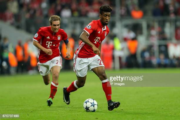 Kingsley Coman of Munich controls the ball during the UEFA Champions League Quarter Final first leg match between FC Bayern Muenchen and Real Madrid...