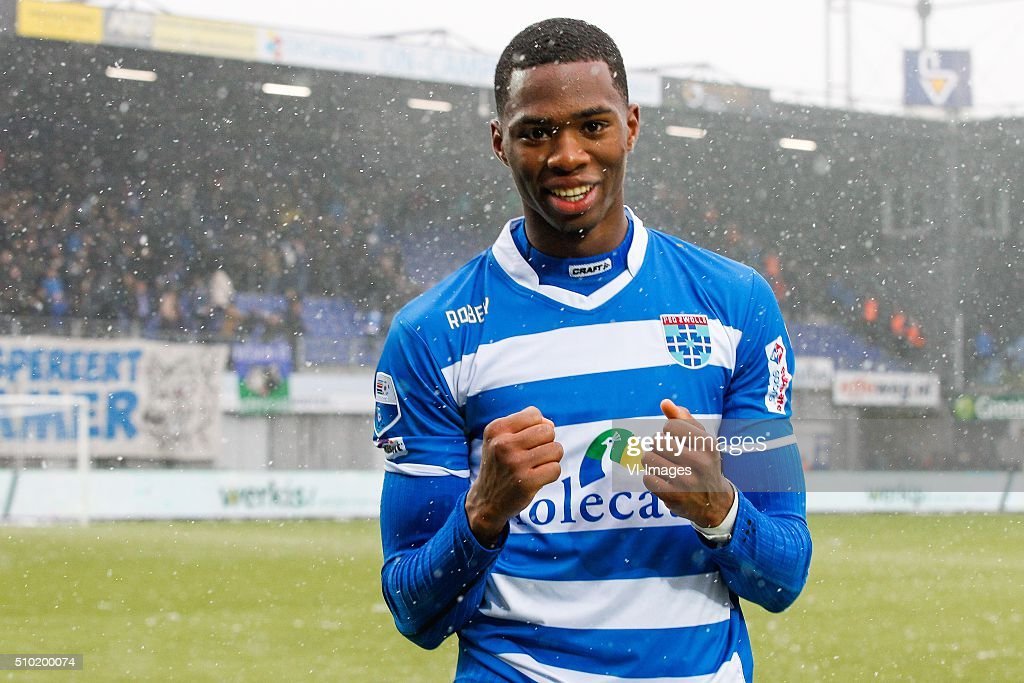 Kingsley Ehizibue of PEC Zwolle, during the Dutch Eredivisie match between PEC Zwolle and Feyenoord Rotterdam at the IJsseldelta stadium on February 14, 2016 in Zwolle, The Netherlands