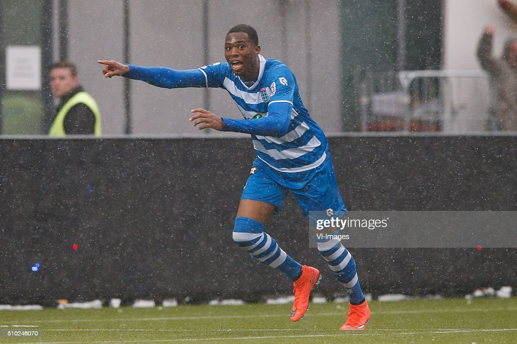 Kingsley Ehizibue of PEC Zwolle during the Dutch Eredivisie match between PEC Zwolle and Feyenoord Rotterdam at the IJsseldelta stadium on February 14, 2016 in Zwolle, The Netherlands