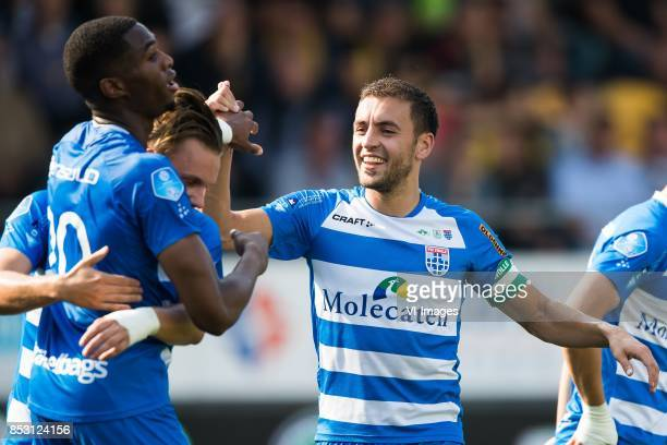 Kingsley Ehizibue of PEC Zwolle Wouter Marinus of PEC Zwolle Bram van Polen of PEC Zwolle during the Dutch Eredivisie match between VVV Venlo and PEC...
