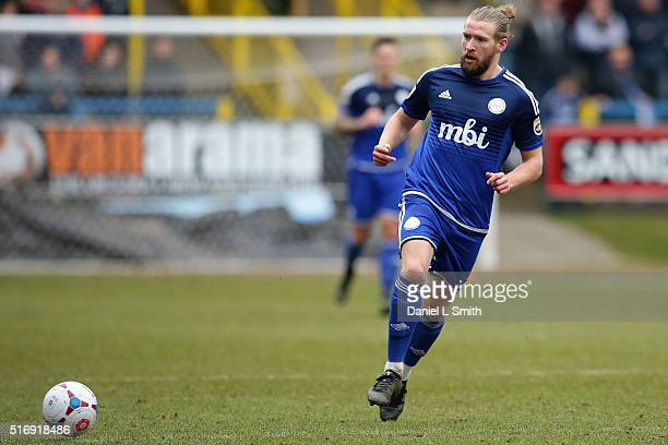 Kingsley James of FC Halifax Town during the FA Trophy Semi Final Second Leg match between FC Halifax Town and Nantwich Town at The Shay Stadium on...