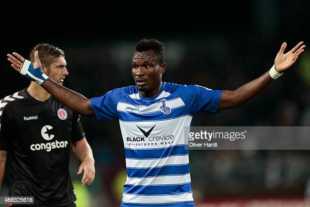 Kingsley Onuegbu of Duisburg during the Second Bundesliga match between FC St Pauli and MSV Duisburg at Millerntor Stadium on September 14 2015 in...
