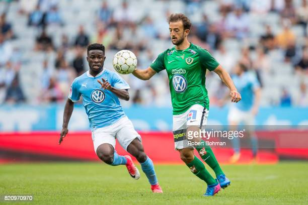 Kingsley Sarfo of Malmo FF and Robert Gojani of Jonkopings Sodra during the Allsvenskan match between Malmo FF and Jonkopings Sodra IF at Swedbank...