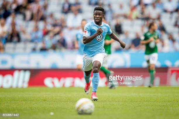 Kingsley Sarfo of Malmo FF during the Allsvenskan match between Malmo FF and Jonkopings Sodra IF at Swedbank Stadion on July 22 2017 in Malmo Sweden