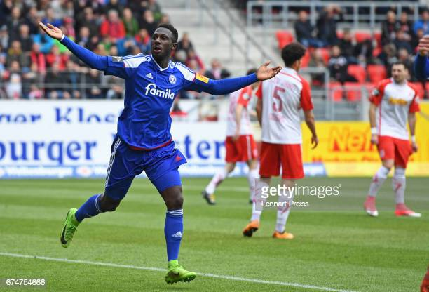 Kingsley Schindler of Holstein Kiel celebrate scoring the first goal during the 3 Liga match between Jahn Regensburg and Holstein Kiel on April 29...