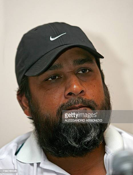 Pakistan national cricket team captain InzamamulHaq addresses a press conference at the team hotel in Kingston Jamaica 18 March 2007 InzamamulHaq...