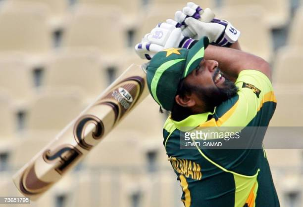 Pakistani cricketer InzamamulHaq looks up after hitting a ball that resulted a catch out to dismiss him from his last oneday international batting...