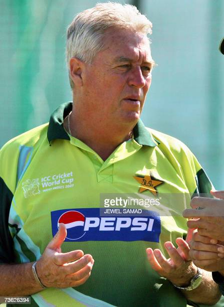 This photo taken 16 March 2007 shows Pakistani cricket team coach Bob Woolmer during a practice session Woolmer died in the Jamaican capital Kingston...