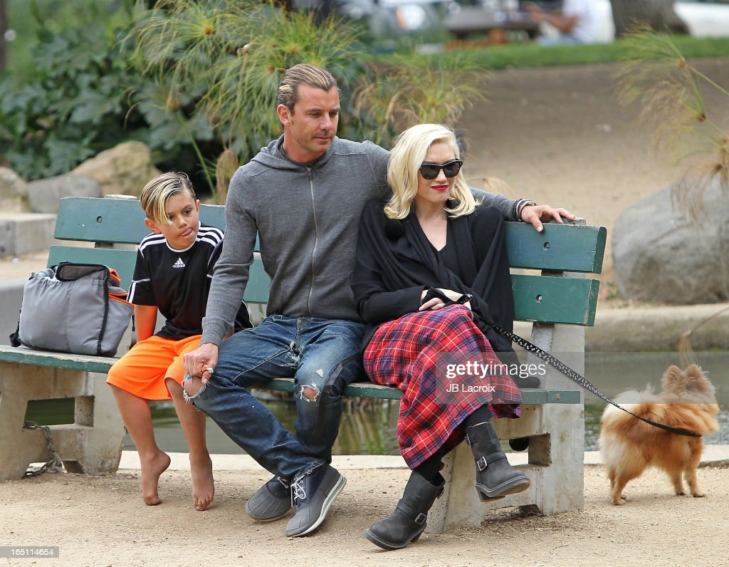 Kingston Rossdale, Gavin Rossdale and Gwen Stefani are seen on March 30, 2013 in Los Angeles, California.