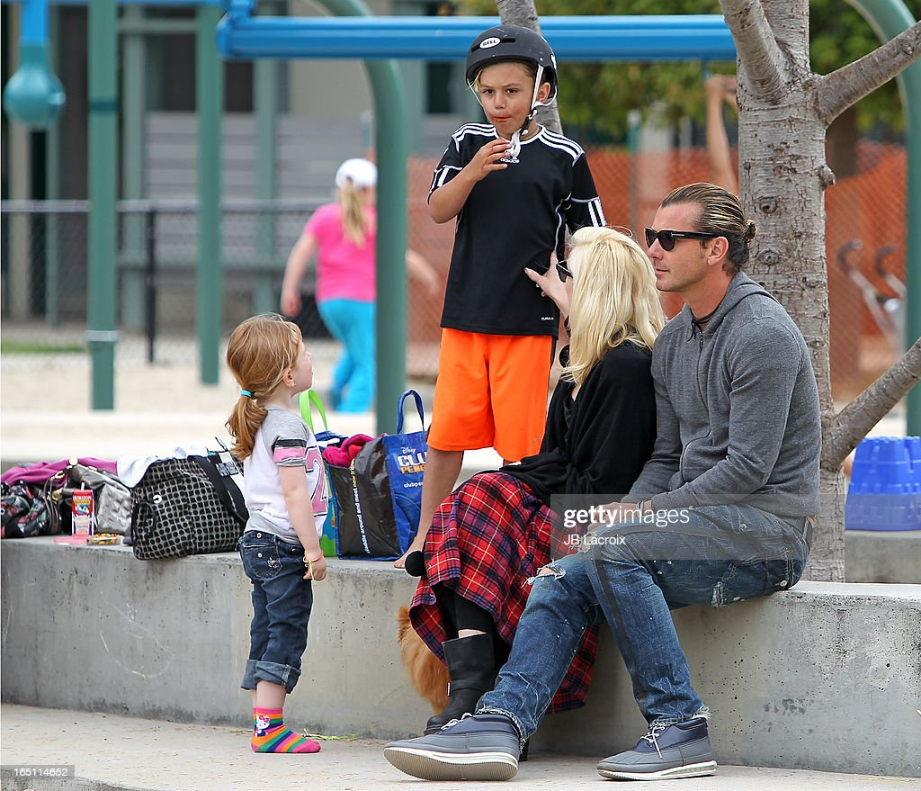 Kingston Rossdale, Gwen Stefani and Gavin Rossdale are seen on March 30, 2013 in Los Angeles, California.