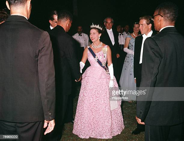 Kingston West Indies Princess Margaret and Lord Snowdon are pictured attending a reception at Kings House Jamaica