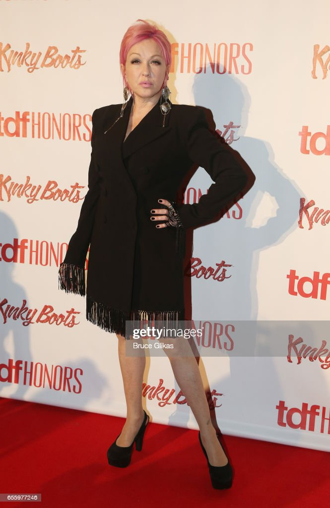 'Kinky Boots' Composer Cyndi Lauper poses at The TDF Honors Cyndi Lauper and Broadway's 'Kinky Boots' at Marriott Marquis Times Square on March 20, 2017 in New York City.
