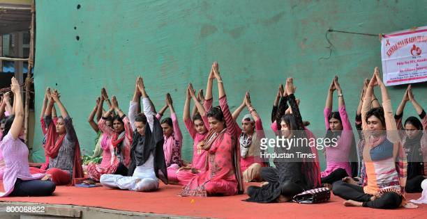 Kinnar Maa Samajik Sanstha Trust take part in a mass yoga session on the International Yoga Day at The SV Patel Nagar Andheri West on June 21 2017 in...