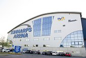 Kinnarps Arena ahead of the Champions Hockey League group stage game between HV71 Jonkoping and Red Bull Salzburg on August 22 2015 in Jonkoping...