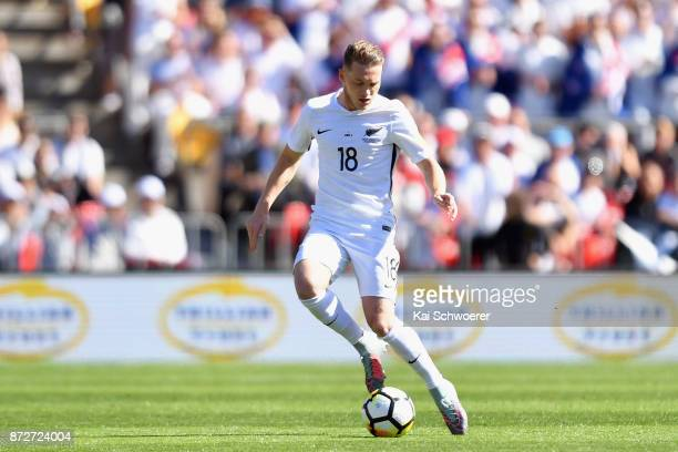 Kip Colvey of the All Whites makes a break during the 2018 FIFA World Cup Qualifier match between the New Zealand All Whites and Peru at Westpac...