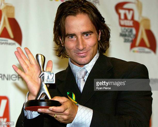 Kip Gamblin from Home and Away poses with his Silver Logie for most popular New Male Talent at the 46th Annual TV Week Logie Awards at the Crown...