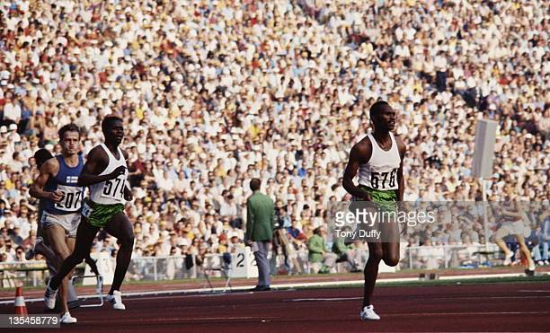 Kip Keino and Ben Jipcho of Kenya lead Tapio Kantanen of Finland in the Men's 3000 metres Steeplechase on 7th September 1972 during the XX Olympic...