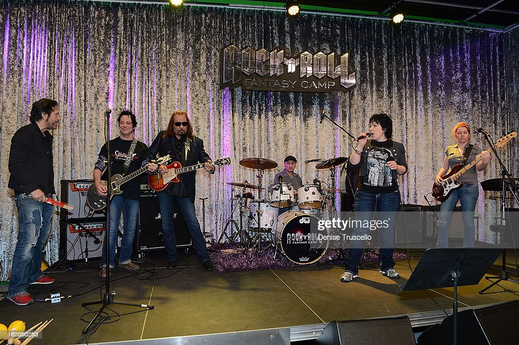 Kip Winger, Brent Muscat and <a gi-track='captionPersonalityLinkClicked' href=/galleries/search?phrase=Ace+Frehley&family=editorial&specificpeople=226761 ng-click='$event.stopPropagation()'>Ace Frehley</a> during Rock 'n' Roll Fantasy Camp in Las Vegas on February 18, 2013 in Las Vegas, Nevada.