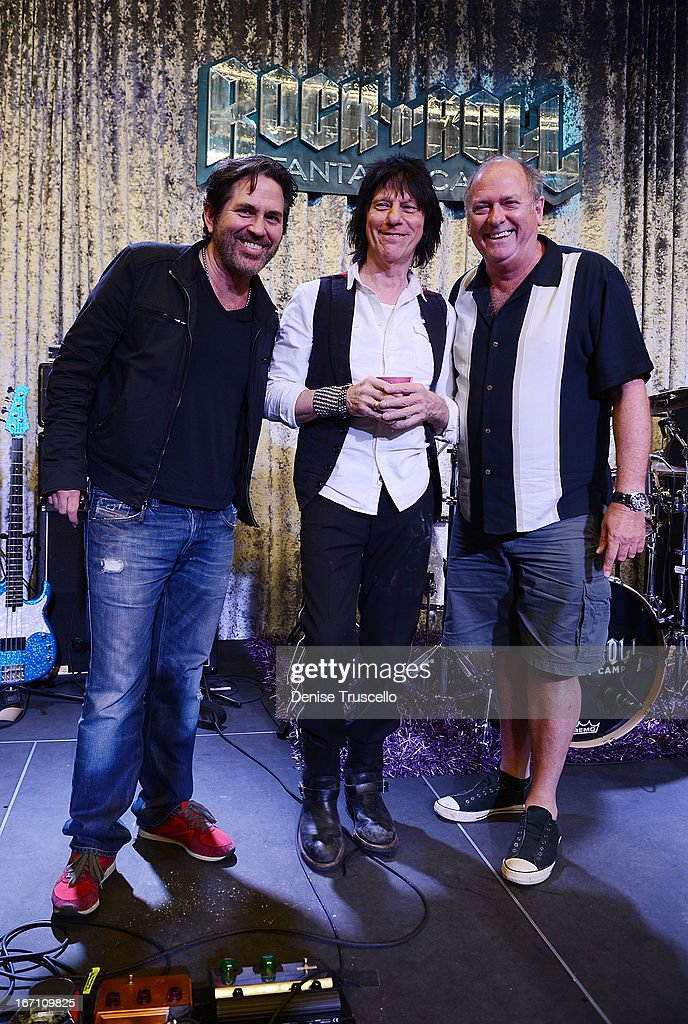 Kip Winger, <a gi-track='captionPersonalityLinkClicked' href=/galleries/search?phrase=Jeff+Beck&family=editorial&specificpeople=213341 ng-click='$event.stopPropagation()'>Jeff Beck</a> and Spike attend Rock 'n' Roll Fantasy Camp on April 20, 2013 in Las Vegas, Nevada.