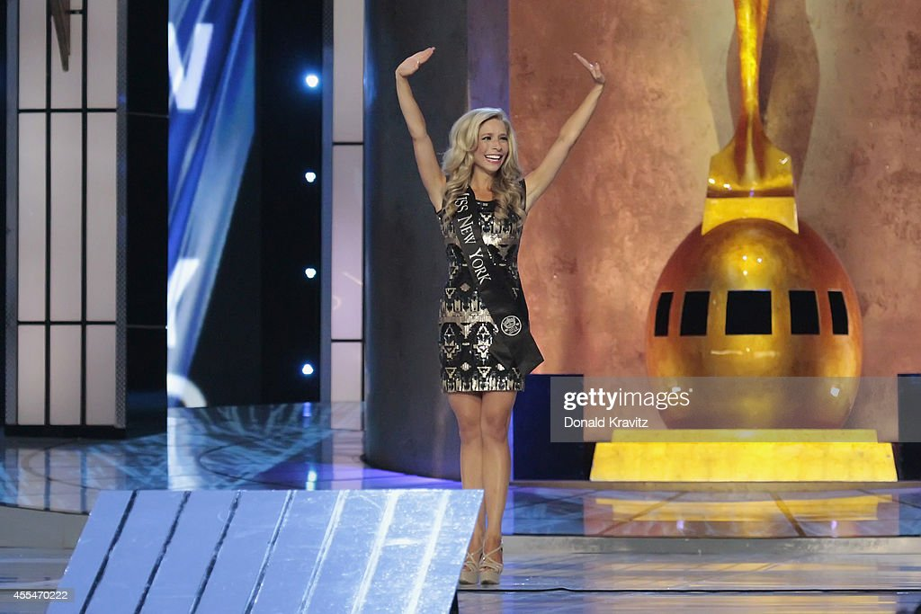 <a gi-track='captionPersonalityLinkClicked' href=/galleries/search?phrase=Kira+Kazantsev&family=editorial&specificpeople=12505447 ng-click='$event.stopPropagation()'>Kira Kazantsev</a>, introduces herself to audience at Atlantic City Boardwalk Hall on September 14, 2014 in Atlantic City, New Jersey.