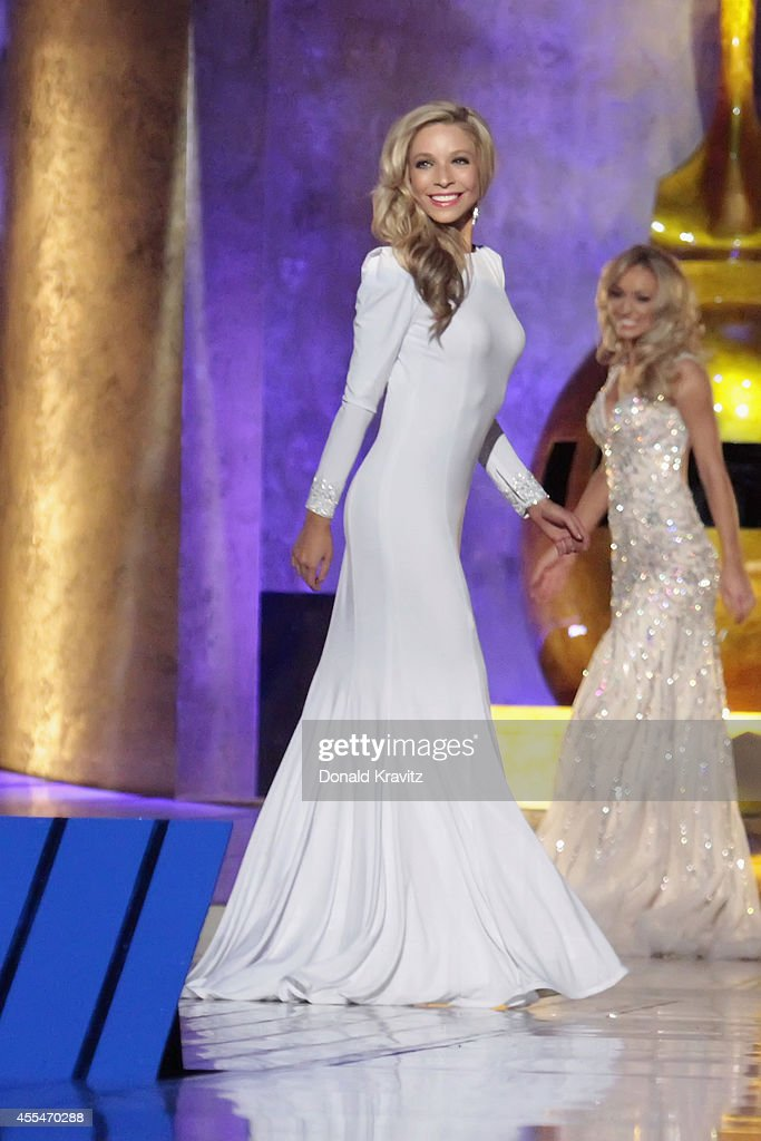 <a gi-track='captionPersonalityLinkClicked' href=/galleries/search?phrase=Kira+Kazantsev&family=editorial&specificpeople=12505447 ng-click='$event.stopPropagation()'>Kira Kazantsev</a>, newly crowned Miss America 2015 in Evening Gown at Atlantic City Boardwalk Hall on September 14, 2014 in Atlantic City, New Jersey.