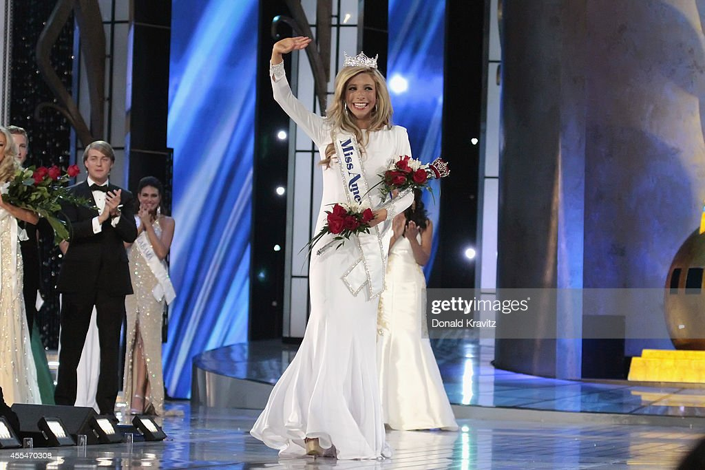 <a gi-track='captionPersonalityLinkClicked' href=/galleries/search?phrase=Kira+Kazantsev&family=editorial&specificpeople=12505447 ng-click='$event.stopPropagation()'>Kira Kazantsev</a>, newly crowned Miss America 2015 walks the runway at Atlantic City Boardwalk Hall on September 14, 2014 in Atlantic City, New Jersey.